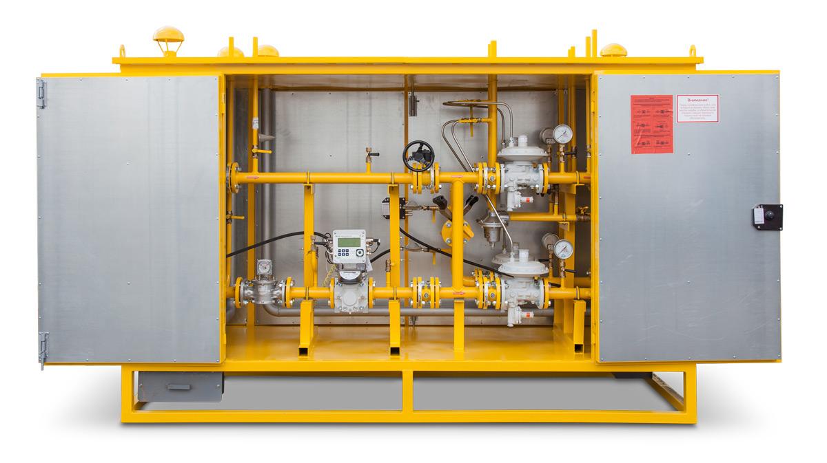 Пункт редуцирования газа ПРДГ с одной линией редуцирования и байпасом