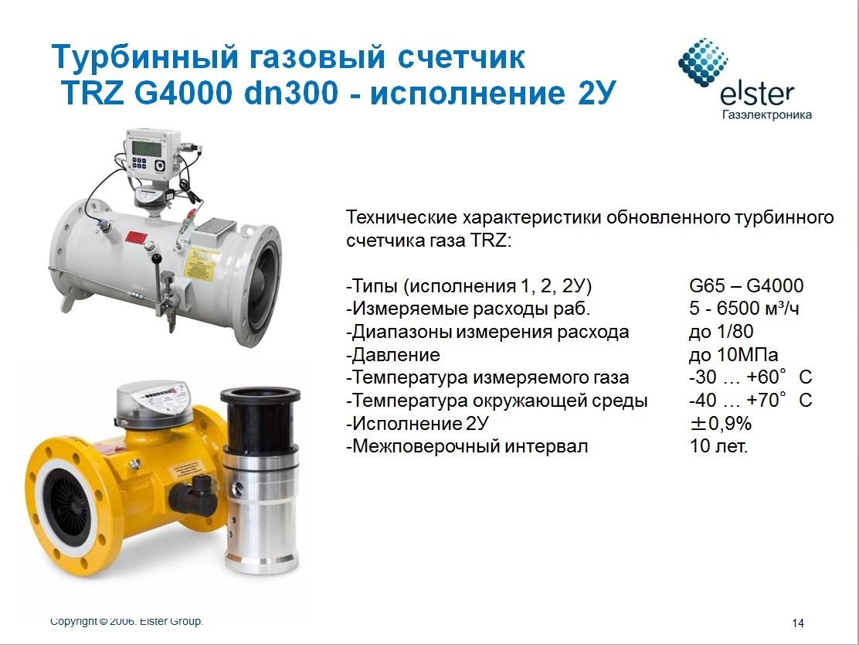 Турбинные счетчики газа TRZ (G2500)