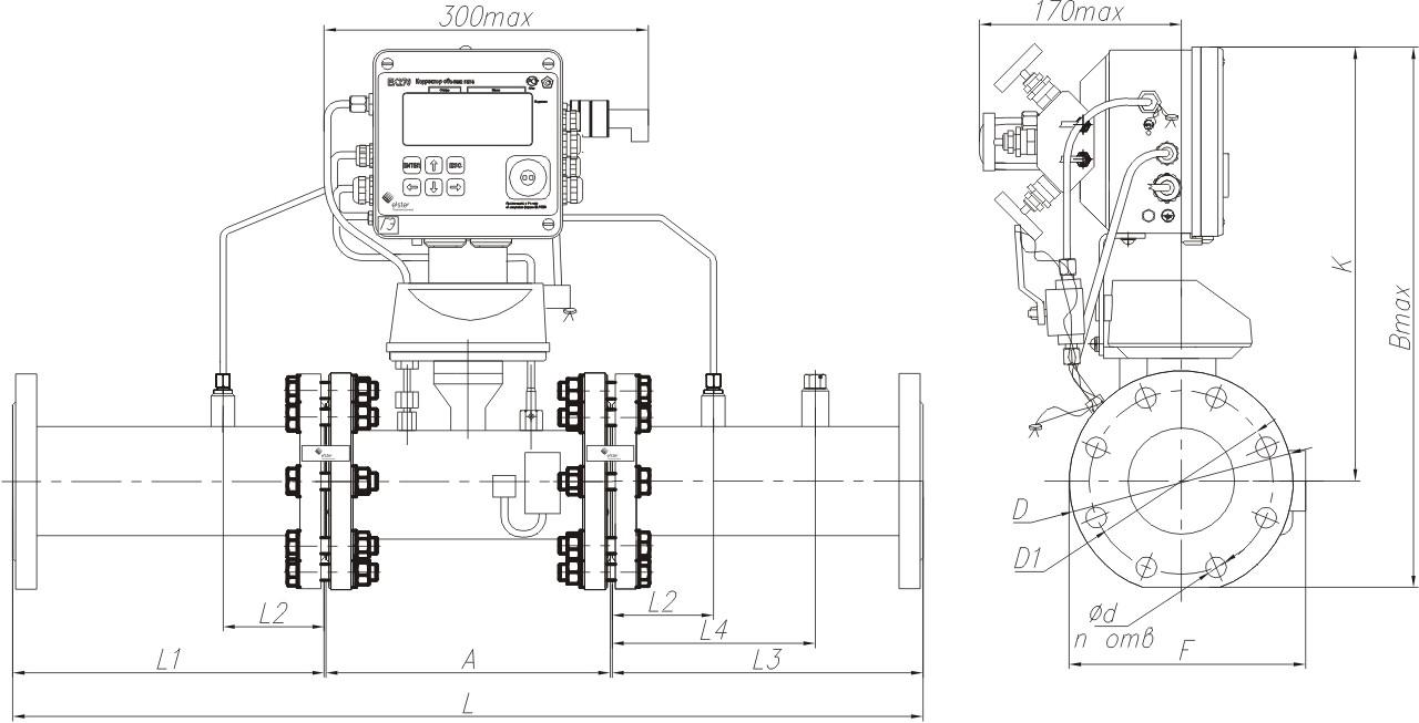 КПУ-СГ-ЭК с измерительным комплексом СГ-ЭК-T-Ду80...200 на базе счетчика СГ16МТ, направление потока газа слева-направо