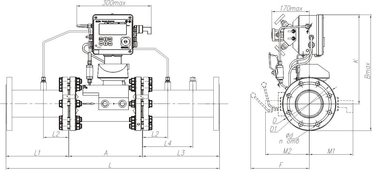 КПУ-СГ-ЭК с измерительным комплексом СГ-ЭК-T-Ду80...300 на базе счетчика TRZ, направление потока газа слева-направо