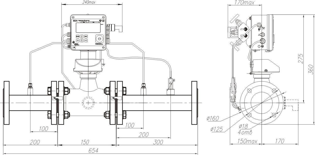 КПУ-СГ-ЭК с измерительным комплексом СГ-ЭК-T-100 Ду50 на базе счетчика TRZ. Направление потока газа слева-направо