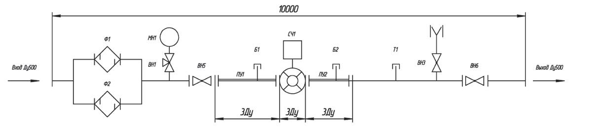 Рис. 2. Принципиальная схема узла учета на базе турбинного счетчика газа SM-RI с максимальной пропускной способностью 10 000 м³/ч